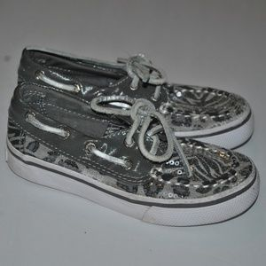 Toddler Sperry Silver Sequin Top Siders, 8.5M